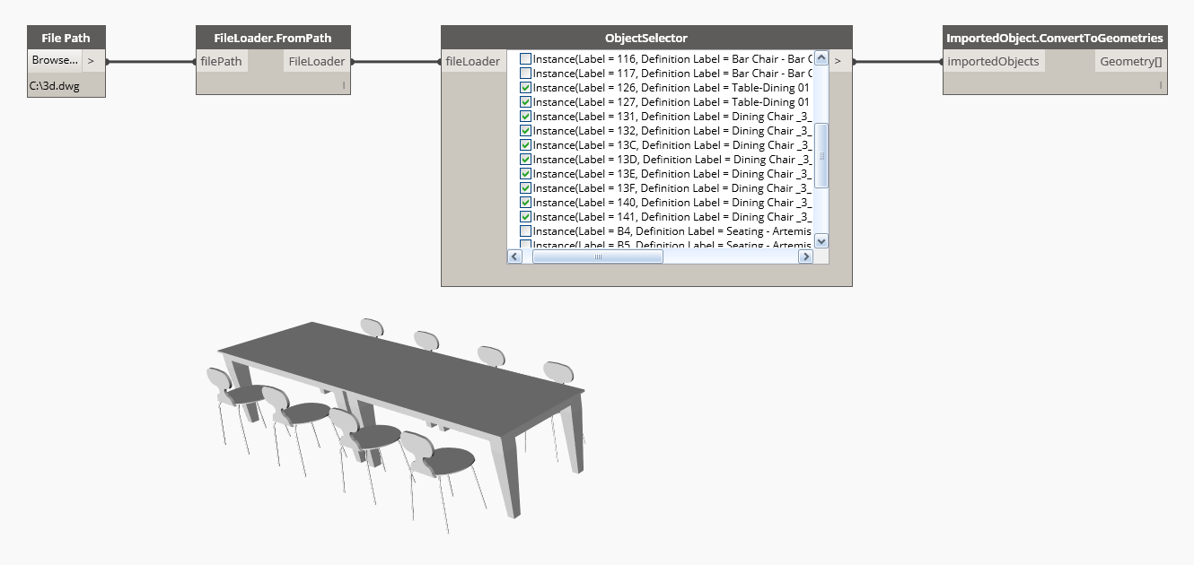Using ObjectSelector to select only the dinning table and chairs